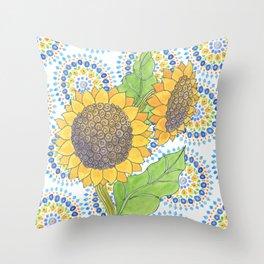 Sunflower-Wallflower by Sandy Thomson Throw Pillow