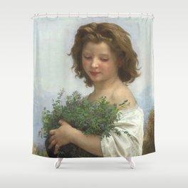 """William-Adolphe Bouguereau """"Little Esmeralda"""" Shower Curtain"""