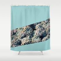 succulents Shower Curtains featuring Succulents by Leah Flores