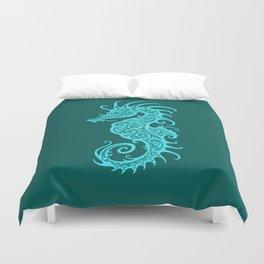 Intricate Teal Blue Tribal Seahorse Design Duvet Cover