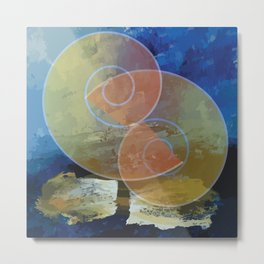 Orange,Yellow & Blue Minimal Art Metal Print