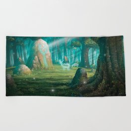 The rock of souls Beach Towel