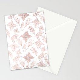 Blush pink rose gold white elegant hand painted orchid floral Stationery Cards