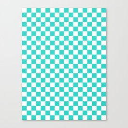 Small Checkered - White and Turquoise Canvas Print