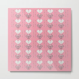 Paper Heart Pink Background Metal Print