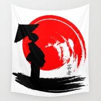 geisha Wall Tapestries featuring Geisha by Emir Simsek