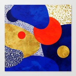 Terrazzo galaxy blue night yellow gold orange Canvas Print