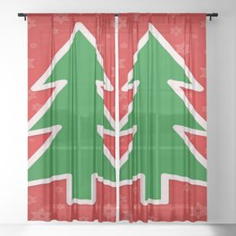 Christmas Tree on Red Background With Snowflakes Sheer Curtain