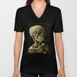Skull Of A Skeleton With A Burning Cigarette - Vincent Van Gogh Unisex V-Neck