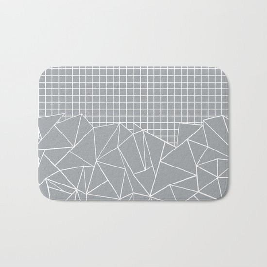 Abstract Outline Grid Grey Bath Mat
