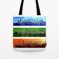 divergent Tote Bags featuring Divergent by All Things M