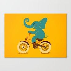 Elephant on the bike Canvas Print