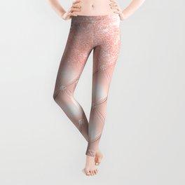 Luxury Rosegold Glitter Pearl Leggings