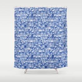Succulents - Monochrome Blue Shower Curtain