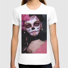 Mexican Hibiscus Day of the Dead Skull T-shirt