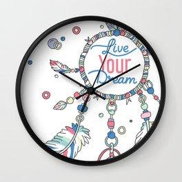 Live Your Dream Dream Catcher - Pastel Colors Wall Clock