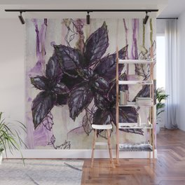 Herb Garden, Purple Basil art Wall Mural