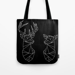 Geometric Stag and Doe (White on Black) Tote Bag