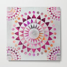 Mandala Pattern in warm shades of orange and pink Metal Print