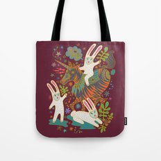 Three Rabbits and a Unicorn Tote Bag