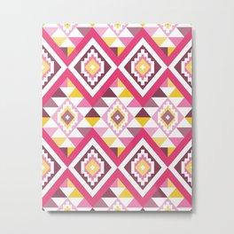 Modern Geometric Tribal Aztec – Mulberry Pink and Yellow Metal Print