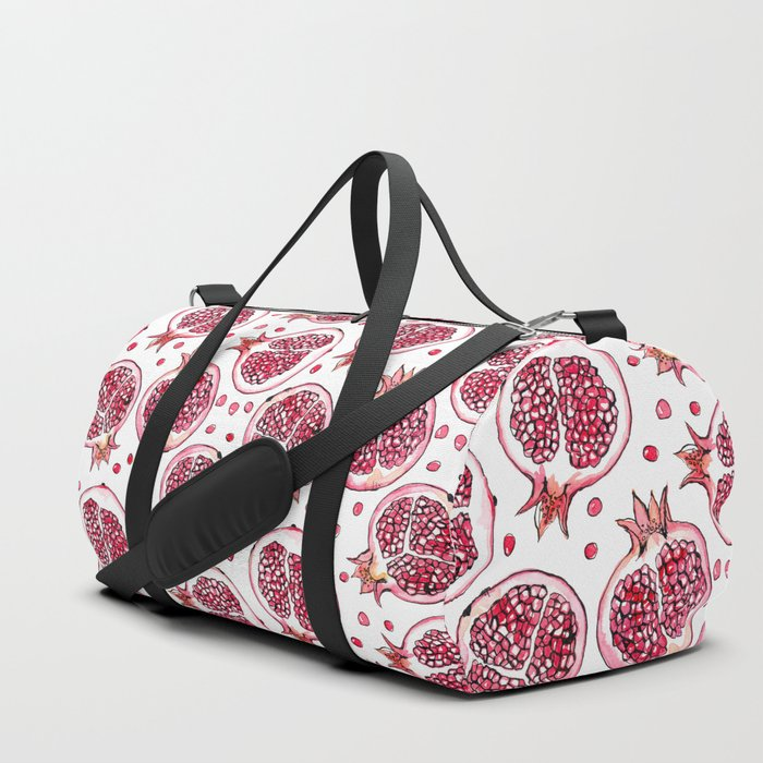 Pomegranate watercolor and ink pattern Duffle Bag