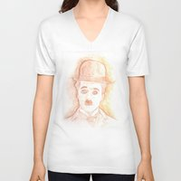 charlie chaplin V-neck T-shirts featuring CHARLIE CHAPLIN by willeyworks