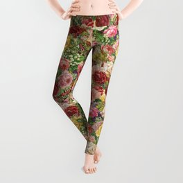Vintage Retro flower pattern old fashioned Leggings