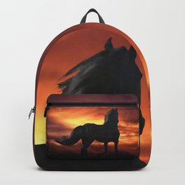 Horse kissed by the wind at sunset Backpack
