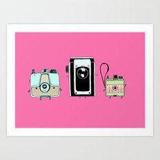 Retro Cameras Art Print