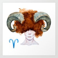 aries Art Prints featuring Aries by Aloke Design