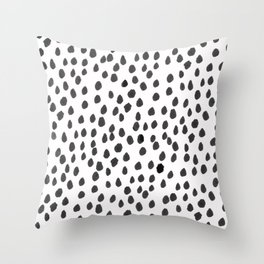 Hand painted monochrome dot pattern Throw Pillow