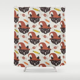Vintage Halloween Cats Shower Curtain