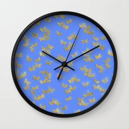 Golden butterflies on blue backround- Beautiful pattern Wall Clock