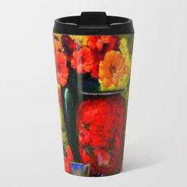 RED-ORANGE AMARYLLIS RED VASE STILL LIFE Travel Mug