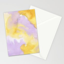 Lilac lavender sunflower yellow abstract watercolor Stationery Cards