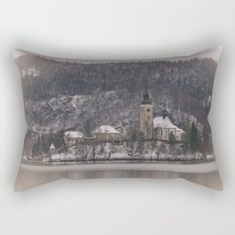 Bled Island Dusted With Snow Rectangular Pillow
