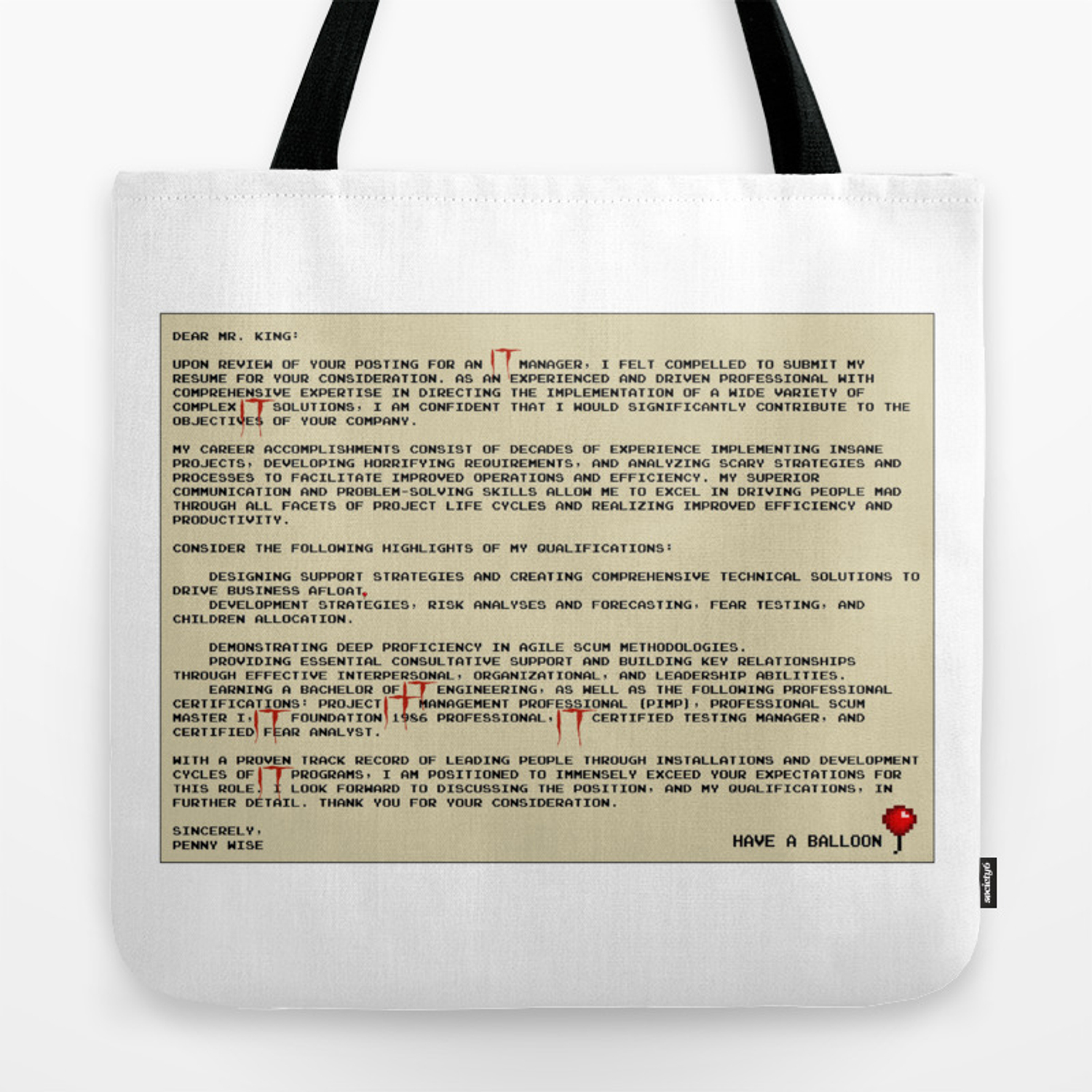 IT Manager Cover Letter Tote Bag