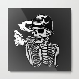 Military skeleton illustration - Soldier skull Metal Print