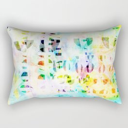 Abstract Puzzle Geos,Watercolor Geometric Painting in Colorful Pastel Rectangular Pillow