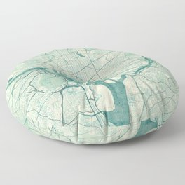 Washington Map Blue Vintage Floor Pillow