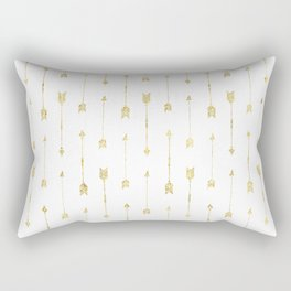 White And Gold Glitter Arrow Pattern Rectangular Pillow