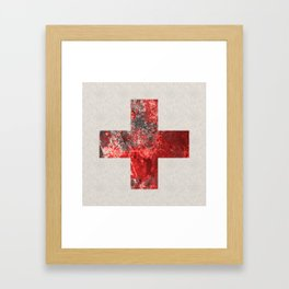 Medic - Abstract Medical Cross In Red And Black Framed Art Print