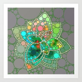 Bubble Green Abstract Flower Design Art Print