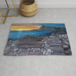 Sunset at Elgol Beach, Fantastic Modern Oil Painting on Canvas, Landscape by Luna Smith Rug