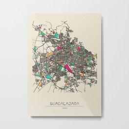 Colorful City Maps: Guadalajara, Mexico Metal Print