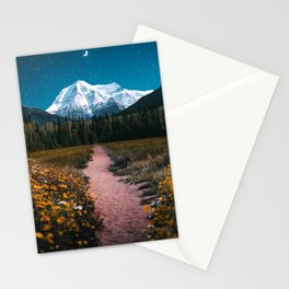 Mountain Path Under the Moon Stationery Cards