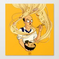 ramen Canvas Prints featuring Ramen by Jiaqi He