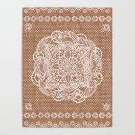 Terracotta boho aztec mudcloth Poster
