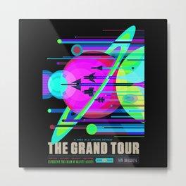 NASA Outer Space Saturn Shuttle Retro Poster Futuristic Explorer Black Best Quality Metal Print